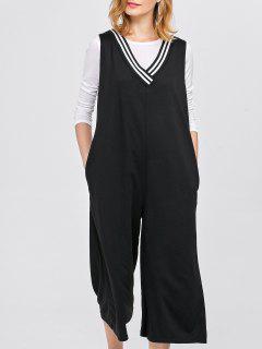 V Neck Loose Jumpsuit With Pockets - Black S