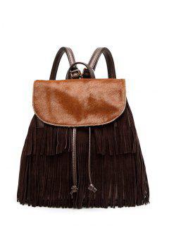 Fringe Faux Horsehair Panel Backpack - Brown