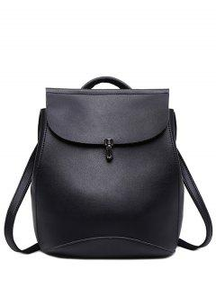 Flapped PU Leather Backpack - Black