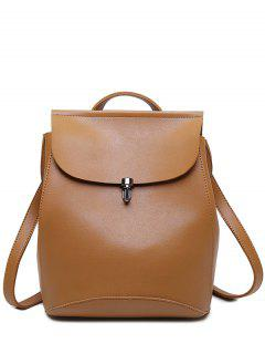 Flapped PU Leather Backpack - Brown