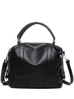 Buckle Straps Faux Leather Handbag - Black