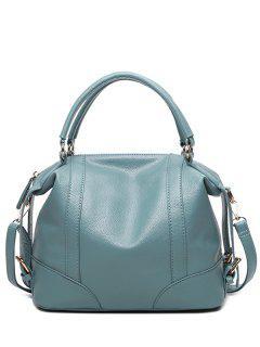 Buckle Straps Faux Leather Handbag - Blue