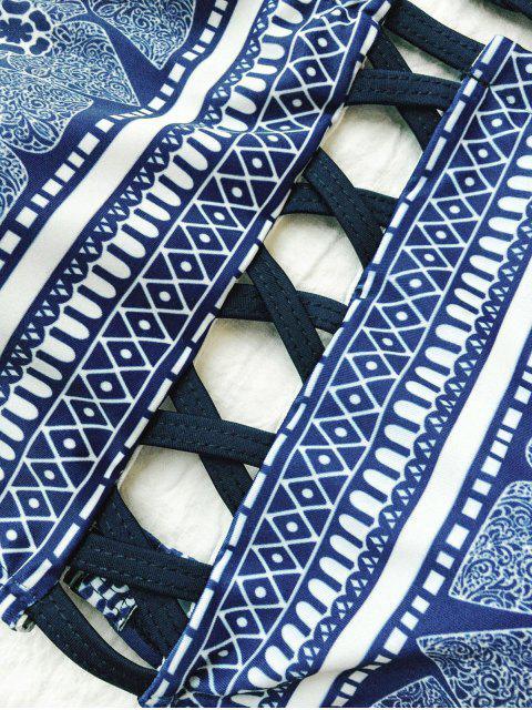 ladies Crisscross High Neck Bikini - PURPLISH BLUE L Mobile
