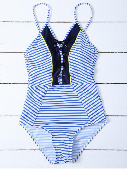 shops Striped Lace Up Swimwear - STRIPE L Mobile