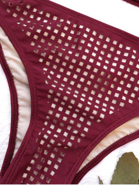 buy Square Laser Cut Bikini Top and Bottoms - BURGUNDY L Mobile