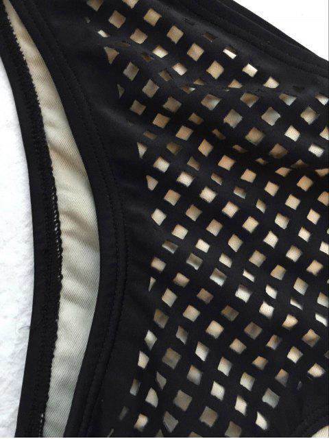 online Square Laser Cut Bikini Top and Bottoms - BLACK S Mobile