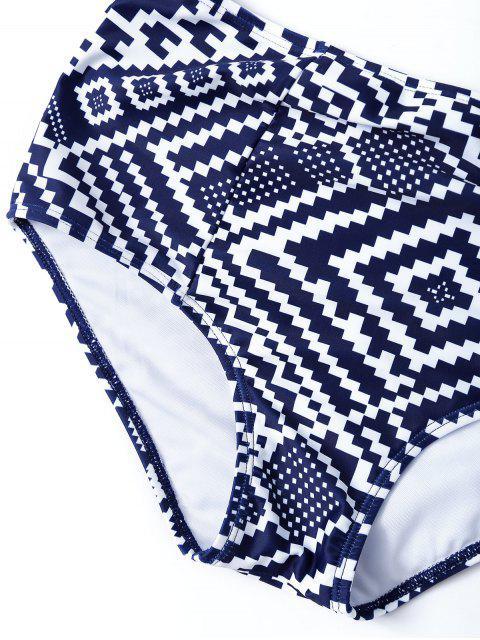 trendy Geo High Waisted Underwired Bikini - BLUE AND WHITE L Mobile