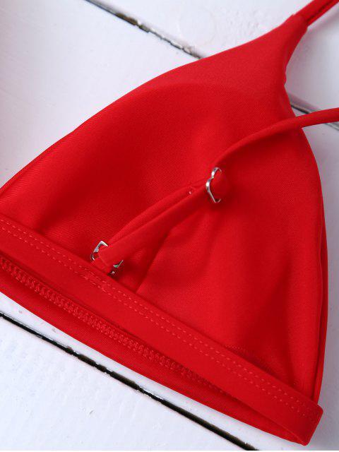 trendy Low Waisted Spaghetti Strap Bikini Swimwear - RED M Mobile