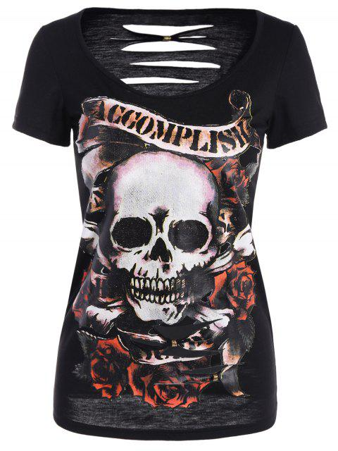 womens Skull Pattern Ripped Halloween T-Shirt - BLACK XL Mobile