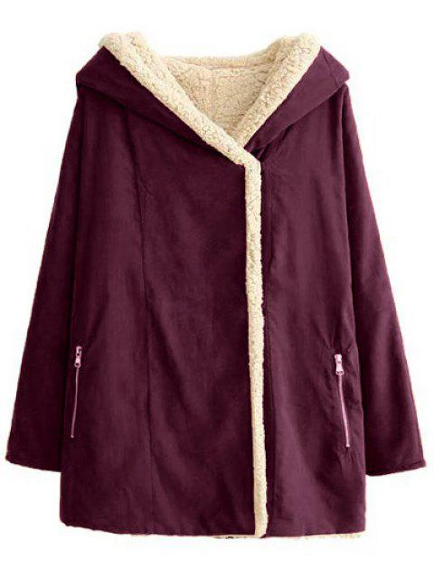 fancy Fleece Lining Hooded Swing Coat - SPICE L Mobile