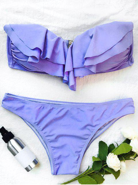 affordable Bandeau Flounce Bikini Set - PURPLE S Mobile