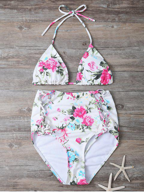womens Floral Lace-Up High Waisted Bikini Set - FLORAL S Mobile