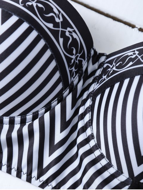 new High Waisted Halter Striped Bikini - WHITE AND BLACK XL Mobile
