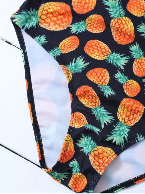 women's Scoop Neck Pineapple Print Swimsuit - BLACK S Mobile