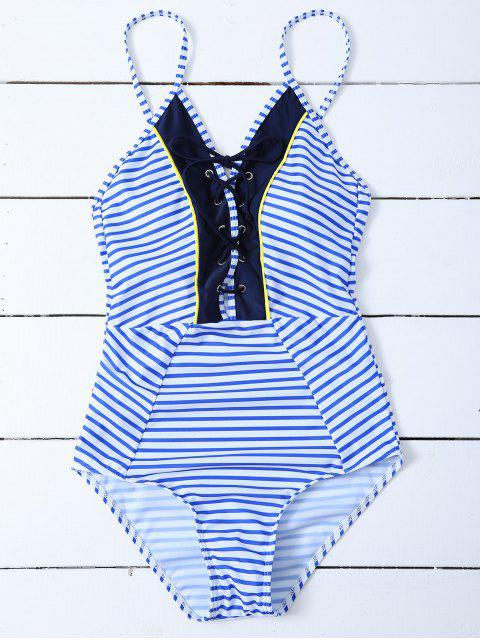 trendy Striped Lace Up Swimwear - STRIPE S Mobile