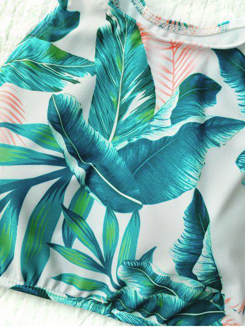 best High Neck Paml Tree Print Bikini - WHITE M Mobile