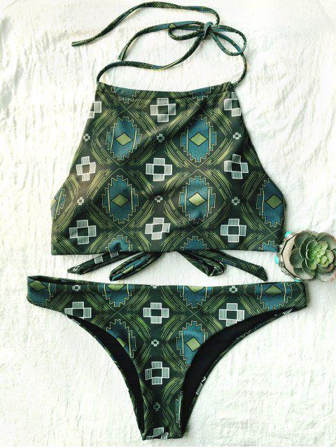 new Tile Print High Neck Bikini - OLIVE GREEN XL Mobile
