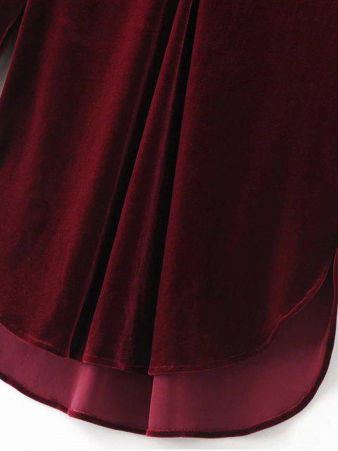 lady Split Neck Velvet Tunic Dress - BURGUNDY L Mobile