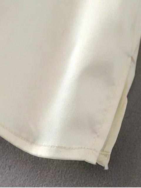 women's Satin Embroidered Pajama Shirt - OFF-WHITE L Mobile