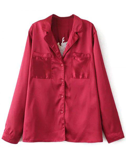 best Satin Embroidered Pajama Shirt - BURGUNDY L Mobile