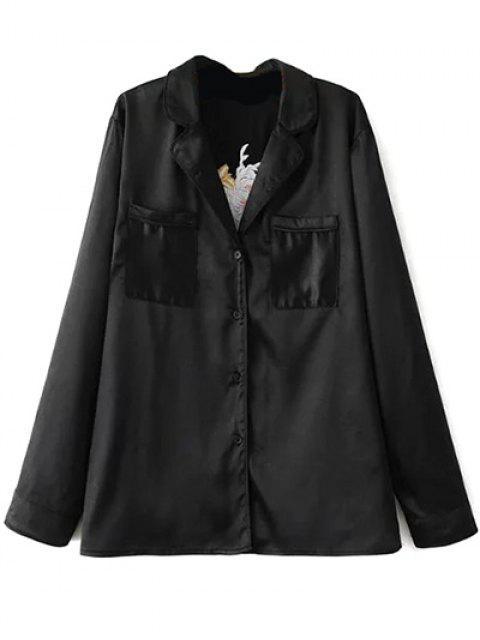 hot Satin Embroidered Pajama Shirt - BLACK L Mobile