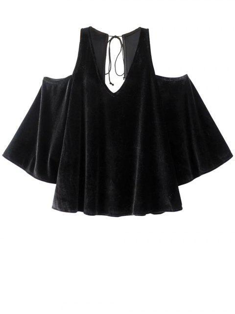 shops Billowy Cold Shoulder Velvet Blouse - BLACK M Mobile