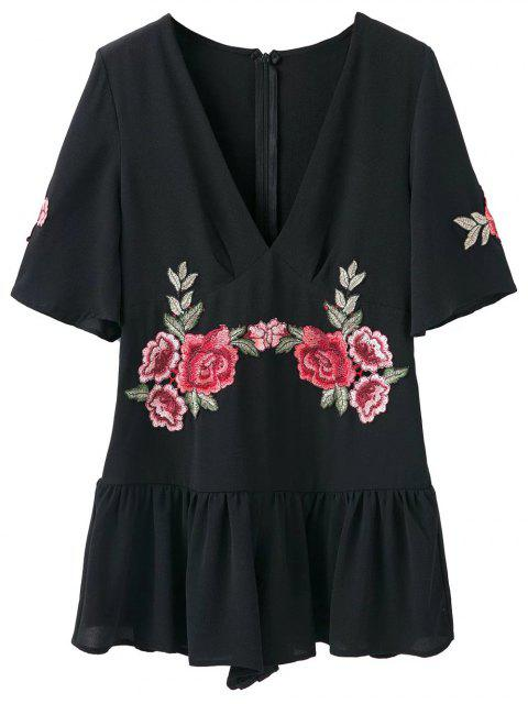 women Embroidered Patches Ruffle Romper - BLACK S Mobile