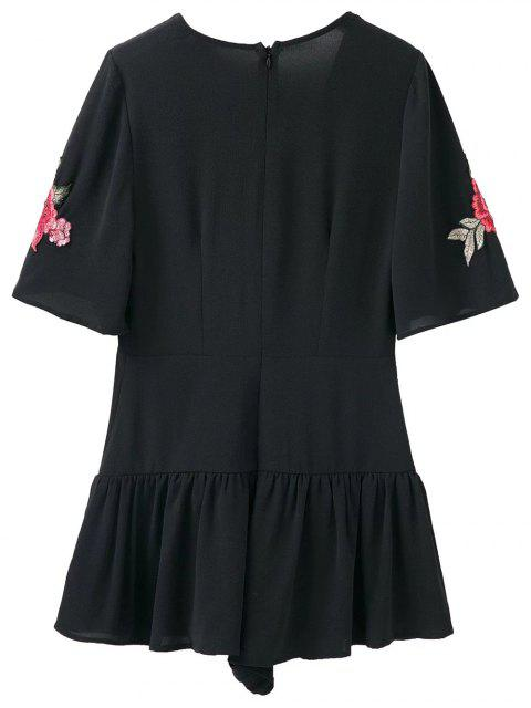womens Embroidered Patches Ruffle Romper - BLACK M Mobile