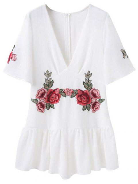 ladies Embroidered Patches Ruffle Romper - WHITE M Mobile