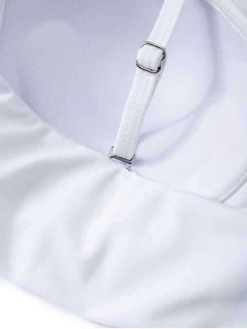 online Ruffles High Waisted Underwired Bikini - WHITE M Mobile