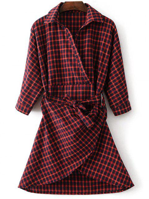 women Asymmetric Belted Plaid Shirt Dress - RED M Mobile
