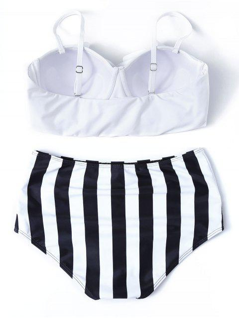 latest Striped High Waisted Underwired Bikini - WHITE S Mobile