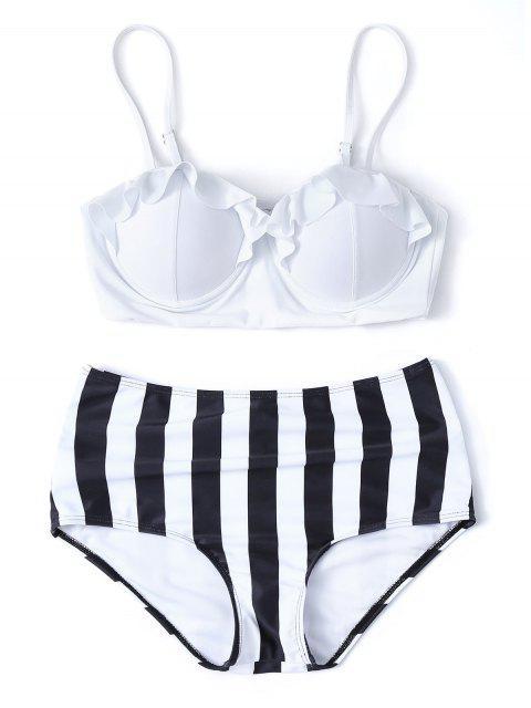 shop Striped High Waisted Underwired Bikini - WHITE L Mobile