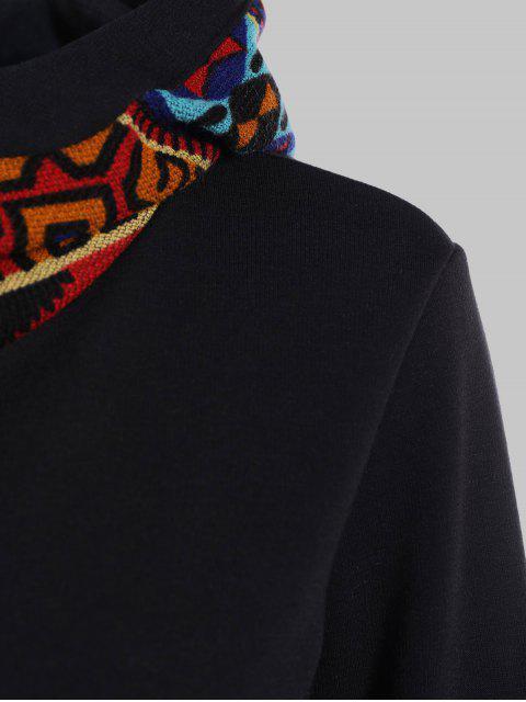 ladies Half Zip Print Panel Hoodie - BLACK M Mobile