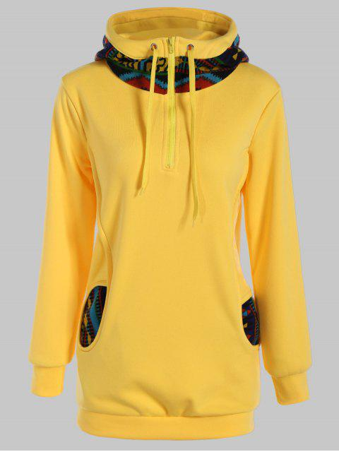 best Half Zip Print Panel Hoodie - YELLOW L Mobile