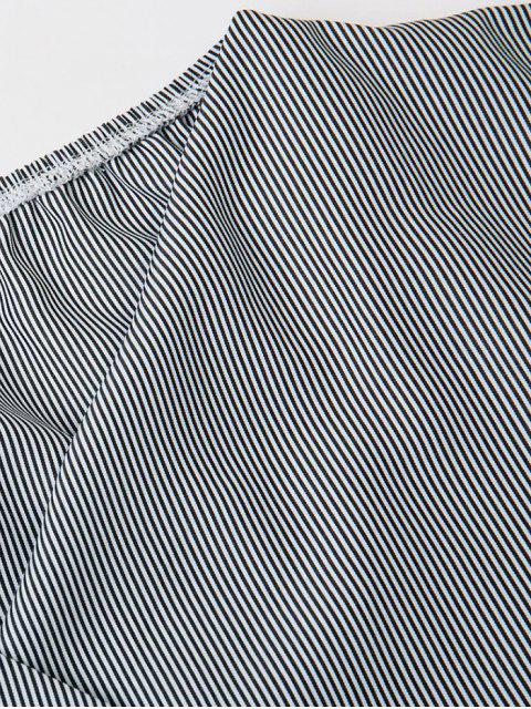 best Bowknot Striped Surplice Blouse - STRIPE M Mobile