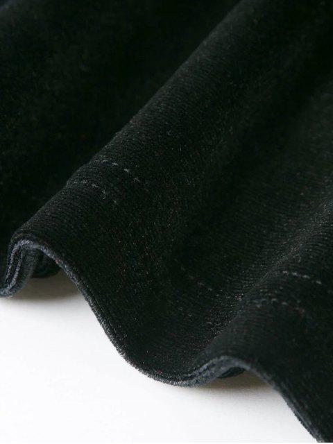 shop Off The Shoulder Long Sleeve Velvet Dress - BLACK L Mobile