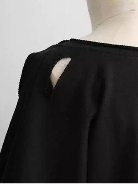 fancy Boyfriend Drop Shoulder Ripped Sweatshirt - LIGHT GRAY ONE SIZE Mobile