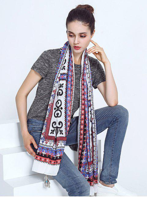 trendy Tribal Print Voile Scarf with Tassel Edge - COLORMIX  Mobile