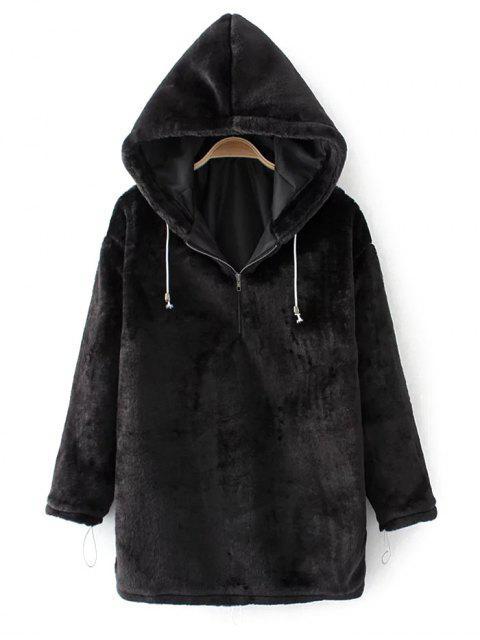 lady Half Zip Velvet Drawstring Hoodie - BLACK L Mobile