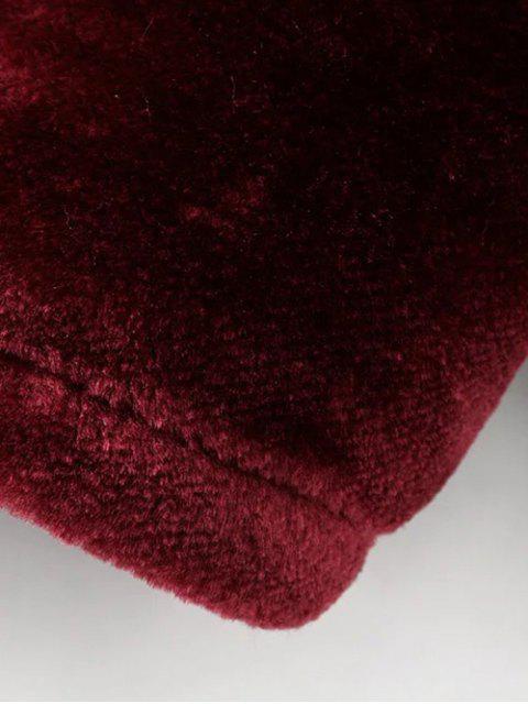 shops Half Zip Velvet Drawstring Hoodie - BURGUNDY S Mobile