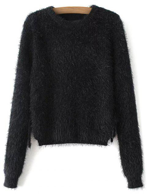 buy Cropped Fuzzy Lace Up Sweater - BLACK M Mobile