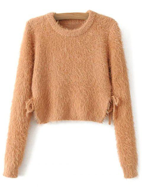 women Cropped Fuzzy Lace Up Sweater - LIGHT BROWN M Mobile