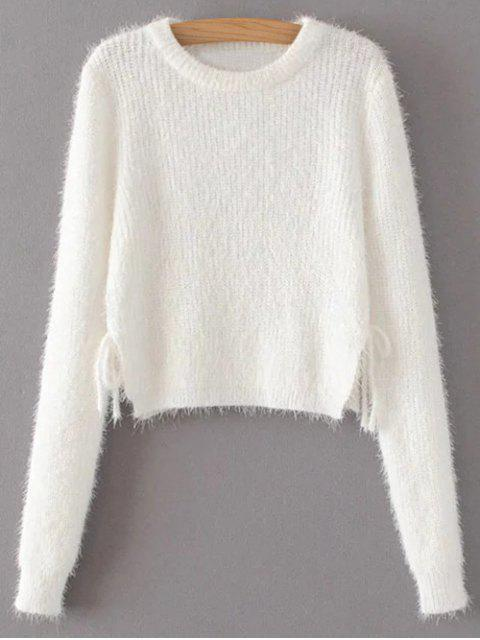 ladies Cropped Fuzzy Lace Up Sweater - WHITE M Mobile