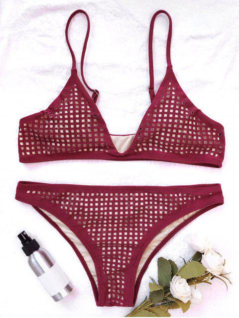women Square Laser Cut Bikini Top and Bottoms - BURGUNDY S Mobile