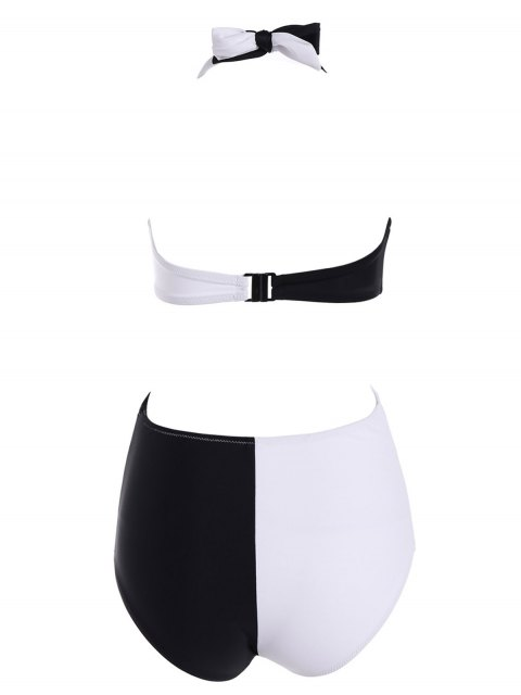 sale Halter Crossover Cut Out One-Piece Swimwear - WHITE AND BLACK M Mobile