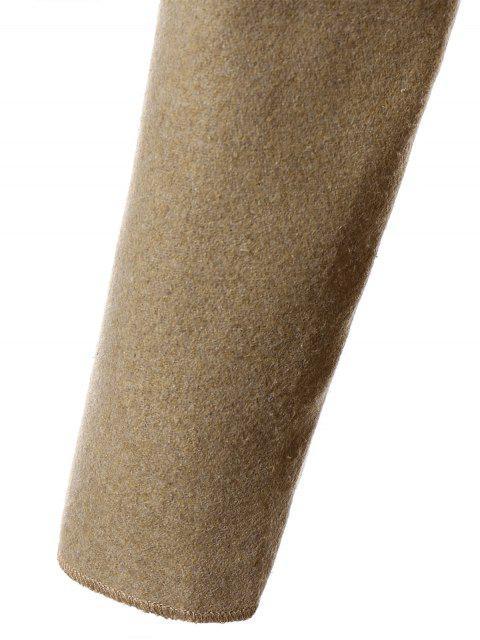ladies Tie Waist Shawl Collar Wrap Coat - CAMEL L Mobile