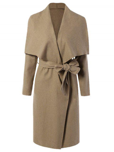 latest Tie Waist Shawl Collar Wrap Coat - CAMEL XL Mobile