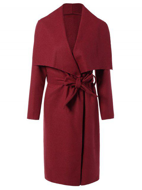 womens Tie Waist Shawl Collar Wrap Coat - RED L Mobile