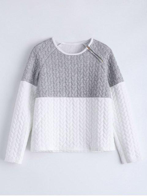 latest Zipper Embellished Color Match Top - GRAY M Mobile
